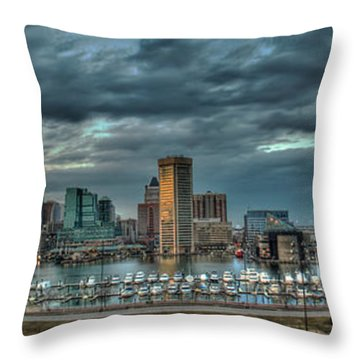 Throw Pillow featuring the photograph Baltimore Inner Harbor Pano by Mark Dodd