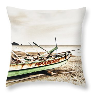 Banca Boat Throw Pillow by Skip Nall