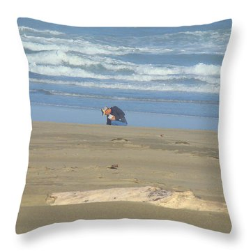 Bandon Oregon Beach Comber Prints Ocean Coastal Throw Pillow by Baslee Troutman