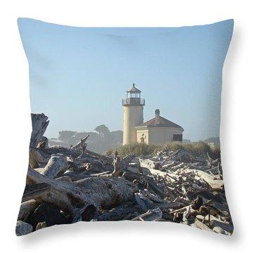 Bandon Oregon Lighthouse Art Prints Driftwood Throw Pillow by Baslee Troutman