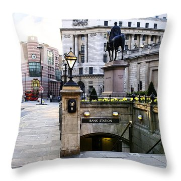 Bank Station Entrance In London Throw Pillow by Elena Elisseeva