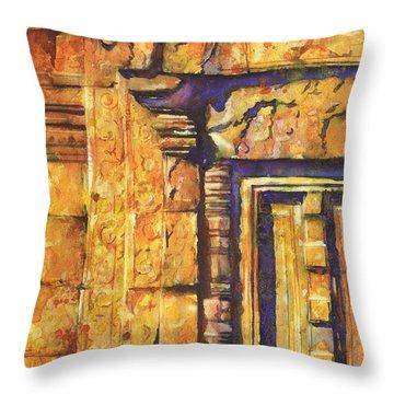 Banteay Srei Doorway Throw Pillow by Ryan Fox