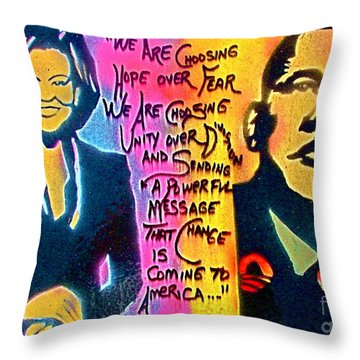 Barack And Michelle Throw Pillow by Tony B Conscious