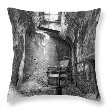 Barber - Chair - Eastern State Penitentiary - Black And White Throw Pillow by Paul Ward