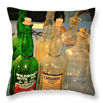Barber Bottles Throw Pillow by Marty Koch