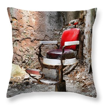 Barber Chair Throw Pillow by Paul Ward
