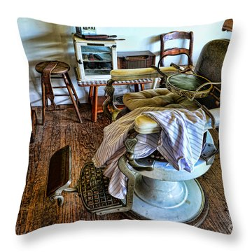 Barber Chair With Child Booster Seat Throw Pillow by Paul Ward