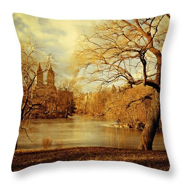 Bare Beauty In Central Park Throw Pillow
