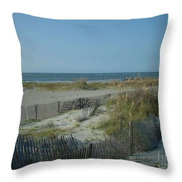 Throw Pillow featuring the photograph Barely Fenced by Mark Robbins