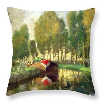Barge On A River Normandy Throw Pillow by Rupert Charles Wolston Bunny