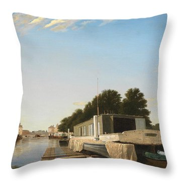 Barges At A Mooring Throw Pillow by Unknown