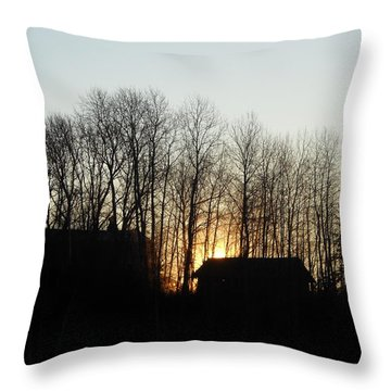 Barn And Shed At Sunrise Throw Pillow by Kent Lorentzen