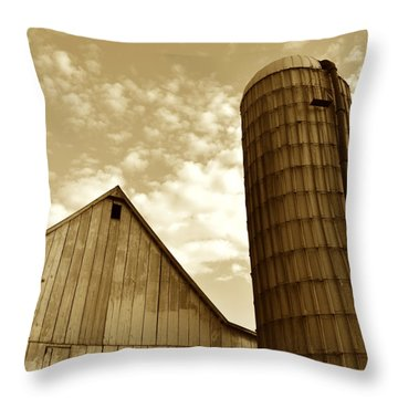 Barn And Silo In Sepia Throw Pillow