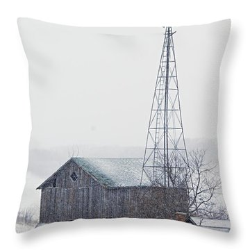 Barn And Windmill In Snow Throw Pillow by Larry Ricker