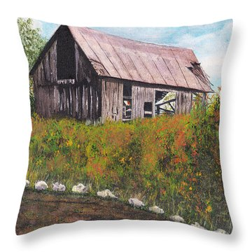 Throw Pillow featuring the painting barn Grahamsville NY by Stuart B Yaeger