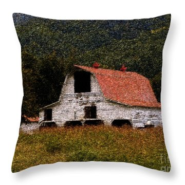 Throw Pillow featuring the photograph Barn In Mountains by Lydia Holly