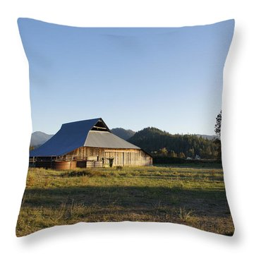 Barn In The Applegate Throw Pillow by Mick Anderson