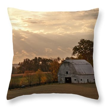 Barn In Warming Storm Throw Pillow by Randall Branham