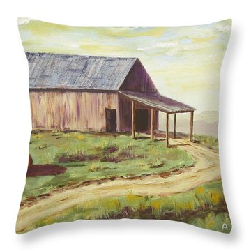 Barn On The Ridge Throw Pillow by Alan Mager