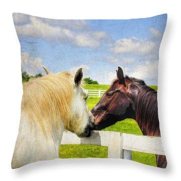 Barn Yard Kisses Throw Pillow by Darren Fisher