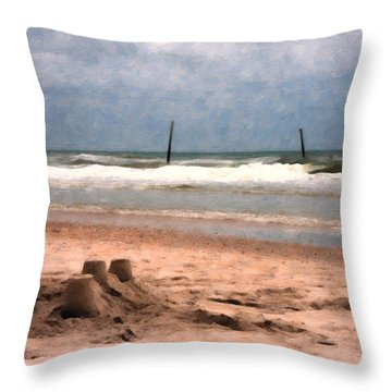 Barnacle Bill's And The Sandcastle Throw Pillow by Betsy Knapp