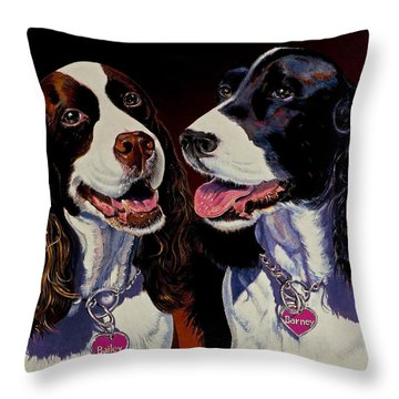 Barney And Bailey Throw Pillow by Bob Coonts