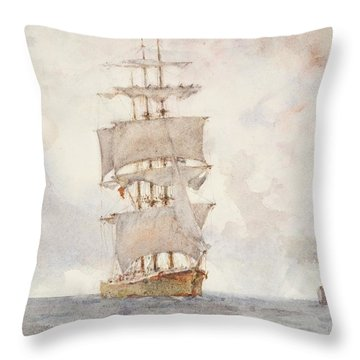 Barque And Tug Throw Pillow by Henry Scott Tuke