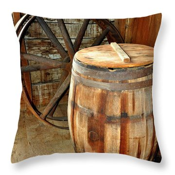 Barrel And Wheel Throw Pillow by Marty Koch