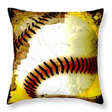 Baseball Abstract Throw Pillow by David G Paul