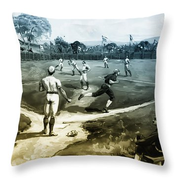 Baseball Throw Pillow by Bill Cannon