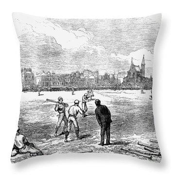 Baseball: England, 1874 Throw Pillow by Granger