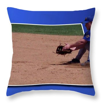 Baseball Hot Grounder Throw Pillow by Thomas Woolworth
