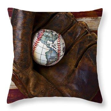 Baseball Mitt With Earth Baseball Throw Pillow by Garry Gay