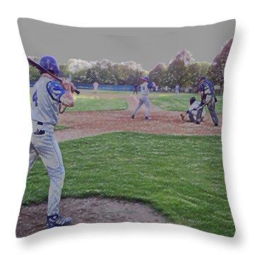 Baseball On Deck Digital Art Throw Pillow by Thomas Woolworth