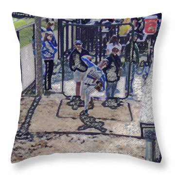 Baseball Pitcher Warming Up Digital Art Throw Pillow by Thomas Woolworth