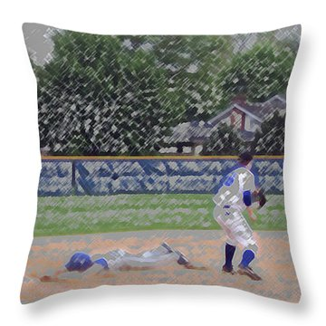 Baseball Playing Hard Digital Art Throw Pillow by Thomas Woolworth