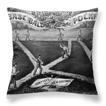Baseball Polka, 1867 Throw Pillow by Granger