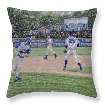 Baseball Runner Heading Home Digital Art Throw Pillow by Thomas Woolworth
