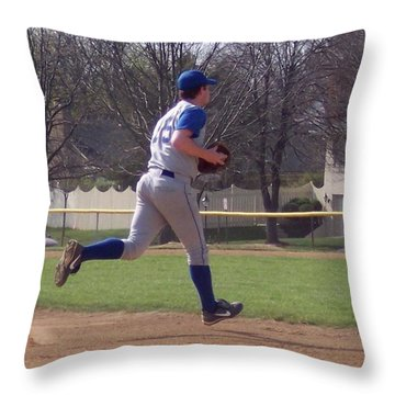Baseball Step And Throw From Third Base Throw Pillow by Thomas Woolworth