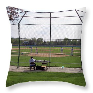 Baseball Warm Ups Throw Pillow by Thomas Woolworth