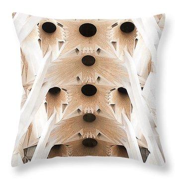 Basilica De La Sagrada Familia In Barcelona Throw Pillow by Beth Riser