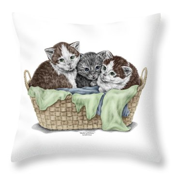 Basket Of Kittens - Cats Art Print Color Tinted Throw Pillow