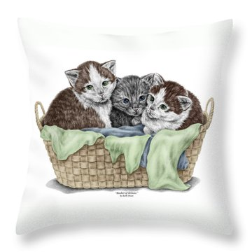 Throw Pillow featuring the drawing Basket Of Kittens - Cats Art Print Color Tinted by Kelli Swan
