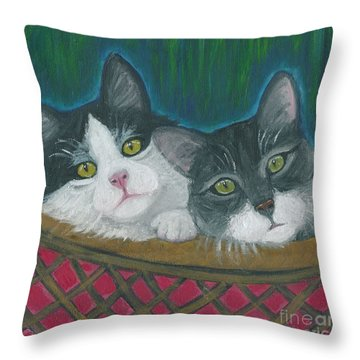 Basket Of Kitties Throw Pillow