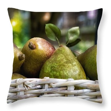 Basket Of Pears Throw Pillow