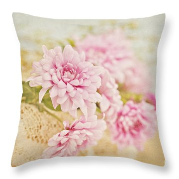 Basket Of Vintage Floral Goodness Throw Pillow
