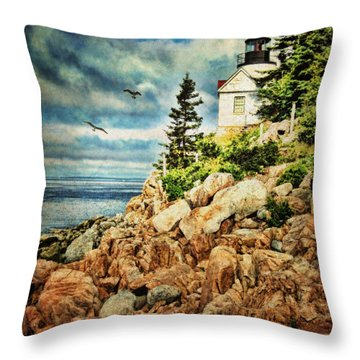 Bass Harbor - Acadia Np Throw Pillow by Lianne Schneider