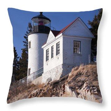 Bass Harbor Lighthouse Acadia National Park Throw Pillow by Glenn Gordon