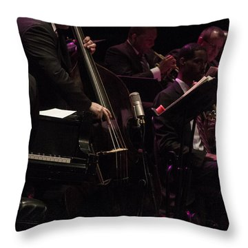 Bass Player Jams Jazz Throw Pillow by Darleen Stry