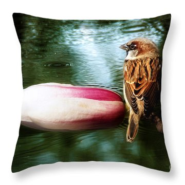 Throw Pillow featuring the digital art Bathing In Sun Meditation by Rosa Cobos